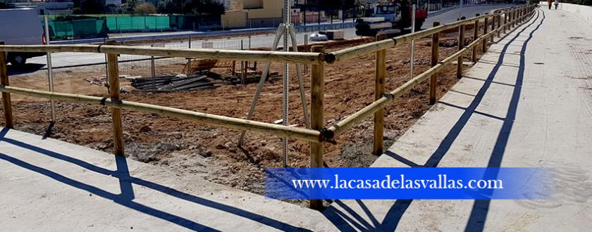 Valla de Madera Tejana en Carril Bici de Gandia (Valencia)